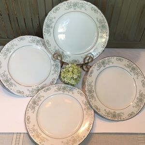 (4) Norleans China Theresa Dinner Curved  Plates